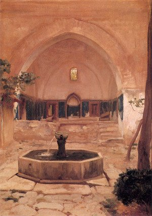 Lord Frederick Leighton - Courtyard of a Mosque at Broussa