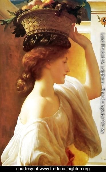 Lord Frederick Leighton - A Girl with a Basket of Fruit