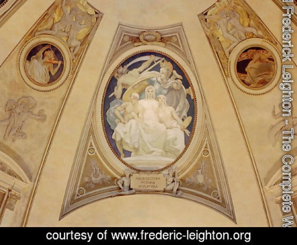 Lord Frederick Leighton - Architecture, Painting and Sculpture Protected by Athena from the Ravages of Time