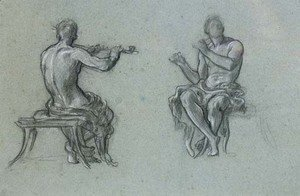 Lord Frederick Leighton - Two studies of a man piping, for Music