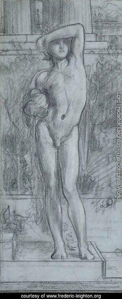 Study for Boy with a Shield, holding a Vase