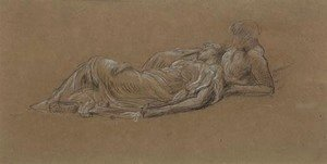 Lord Frederick Leighton - Study for the two nymphs in Idyll