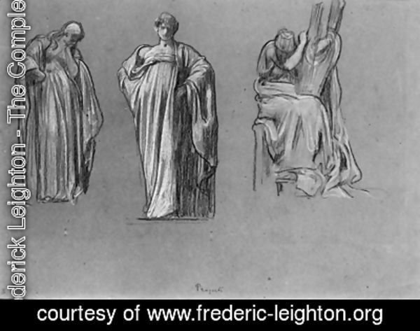 Studies of heavily draped female figures, one playing a lyre