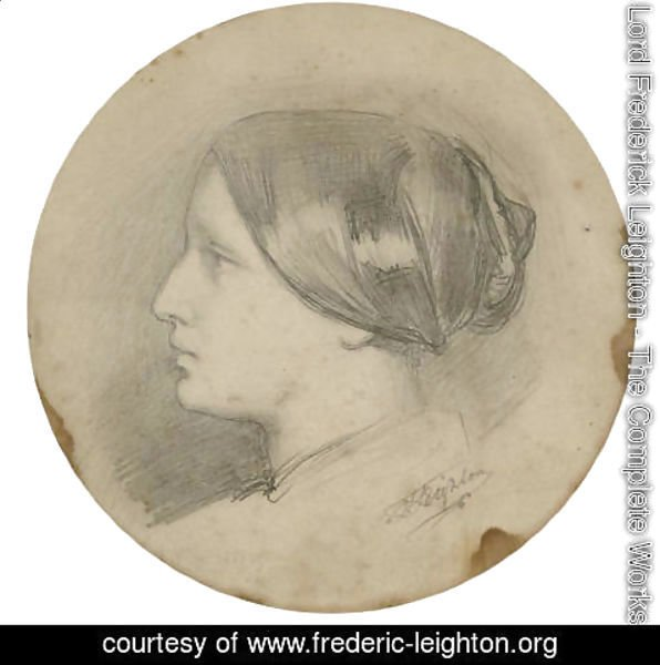 Lord Frederick Leighton - Study of a woman's head in profile