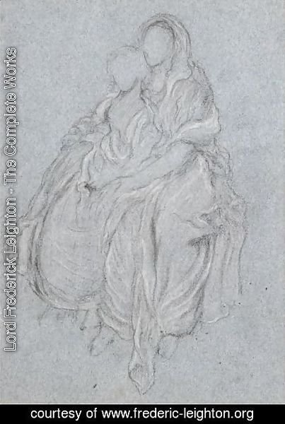 Lord Frederick Leighton - Drapery Study Of The Seated Girls Watching The Festival Procession In The Daphnephoria