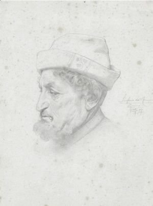 Lord Frederick Leighton - Study Of A Bust Of The Poet Bellini
