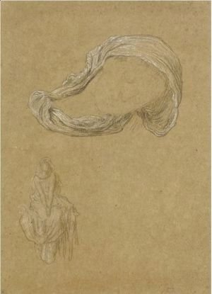 Lord Frederick Leighton - Five Drapery Studies For 'Captive Andromache', One Also Used For 'Electra'