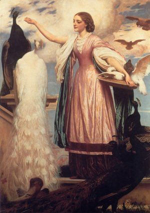 Lord Frederick Leighton - A Girl Feeding Peacocks