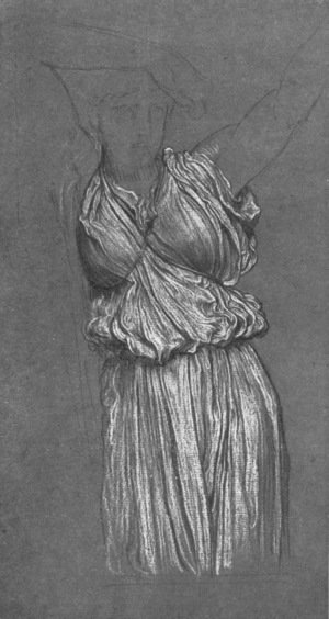 Lord Frederick Leighton - Study Of Drapery For The Last Watch Of Hero