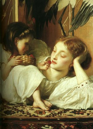 Lord Frederick Leighton - Mother and Child (Cherries)  (detail) 1865